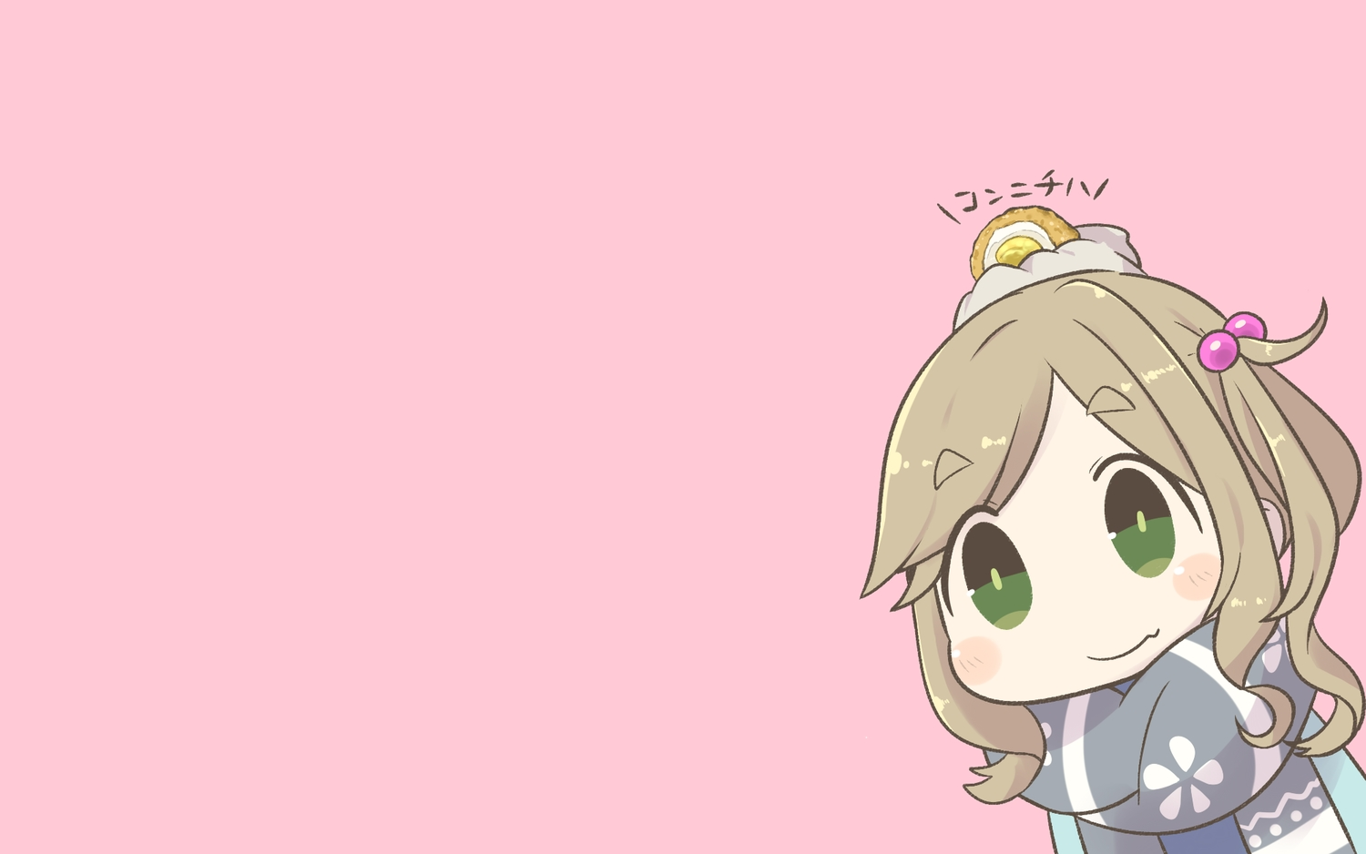 chibi food green_eyes inishie inuyama_aoi pink scarf yuru_camp