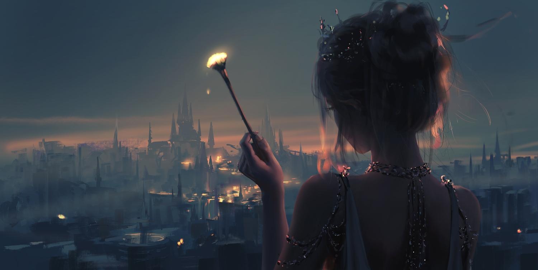 building close ghostblade gray_hair pointed_ears polychromatic princess_yan realistic short_hair sky wlop