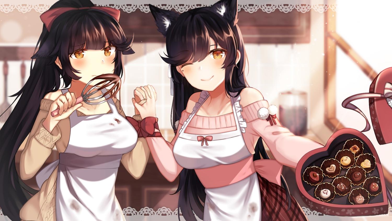 2girls animal_ears anthropomorphism atago_(azur_lane) azur_lane candy chocolate foxgirl roslyria takao_(azur_lane) valentine