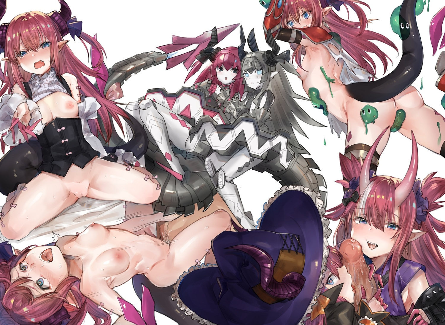 ass blue_eyes blush breasts corset elizabeth_bathory_(fate) fang fate/grand_order fate_(series) fellatio hat horns long_hair navel nipples nude penis pimemomo pussy red_hair robot sex tail uncensored witch_hat
