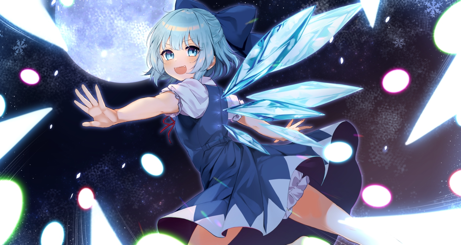 aqua_eyes aqua_hair bloomers blush cirno dress fairy fang moon night sky stairs tamafurin touhou wings