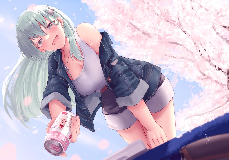 anthropomorphism blush breasts cleavage drink green_hair kantai_collection long_hair narushima_kanna shorts signed sky spring suzuya_(kancolle) tree