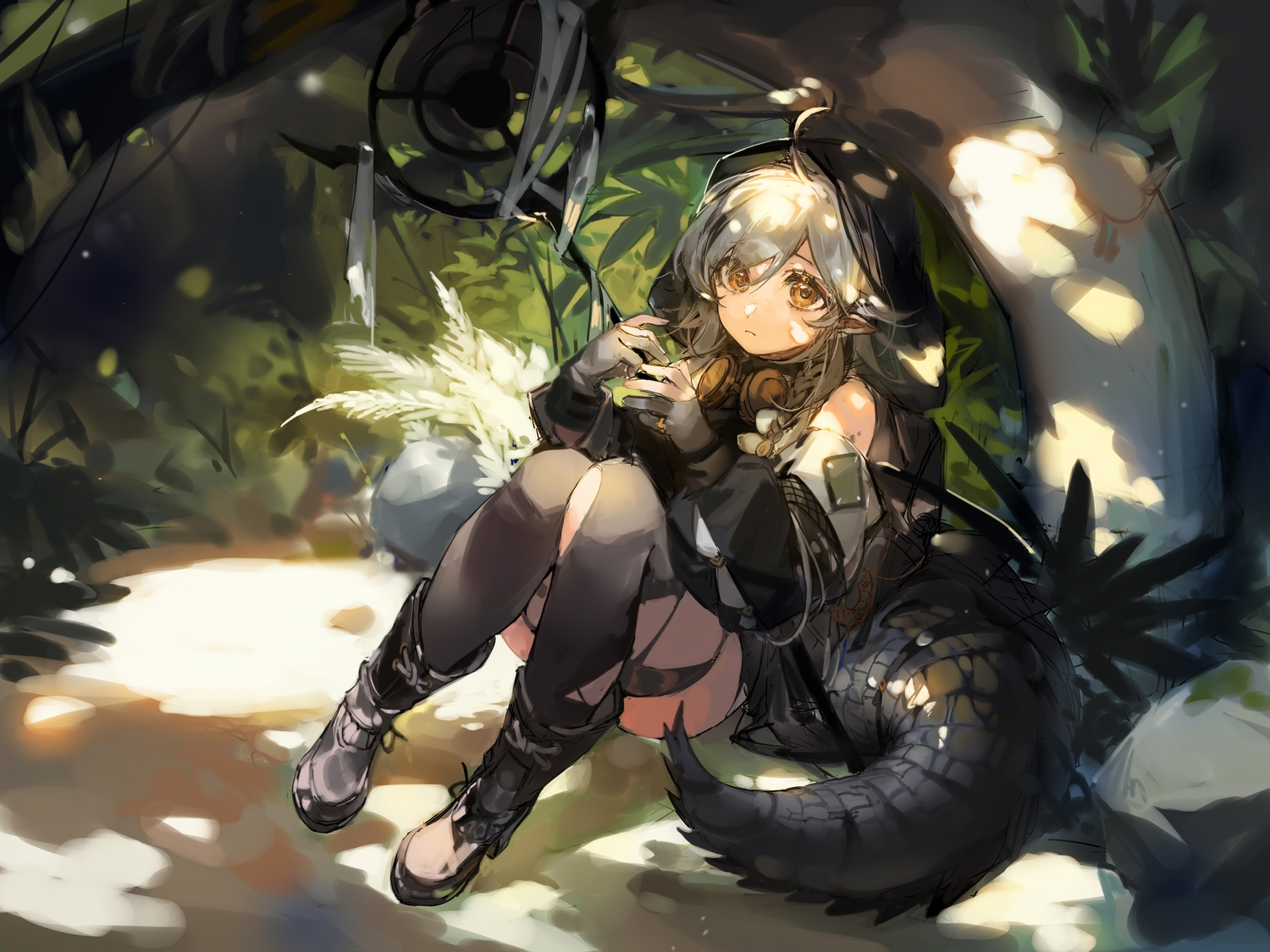 arknights boots ciloranko forest gloves goggles gray_hair hoodie long_hair orange_eyes pointed_ears sketch staff tail thighhighs tomimi_(arknights) tree