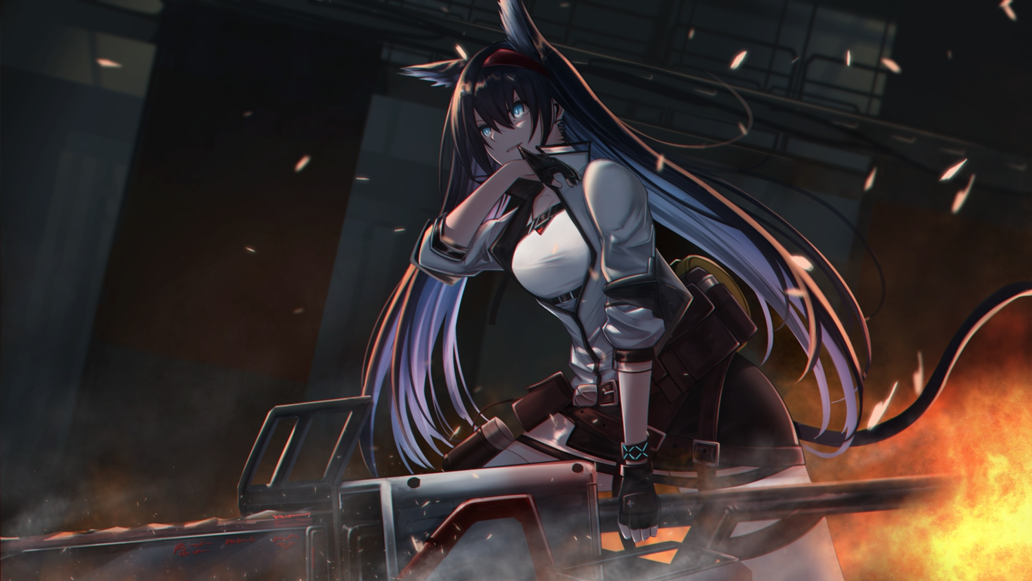 animal_ears aqua_eyes arknights blaze_(arknights) blitzkrieg_(index_unknown) catgirl chainsaw fire gloves long_hair tail weapon