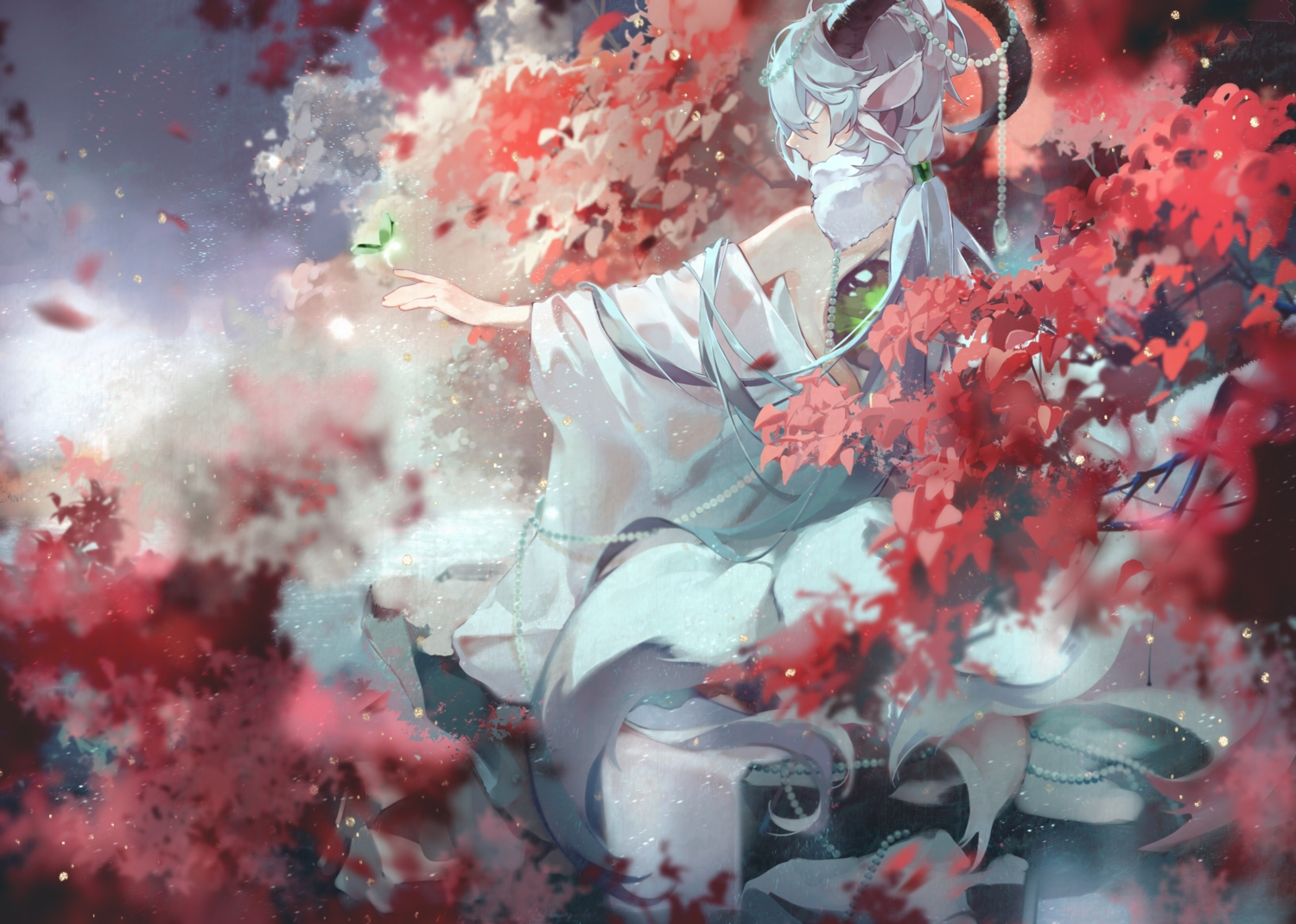 animal_ears blindfold horns leaves luo_tianyi mikka620 multiple_tails tail vocaloid vsinger