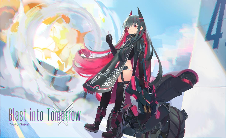 black_hair garter long_hair motorcycle natori_youkai original red_eyes thighhighs watermark weapon