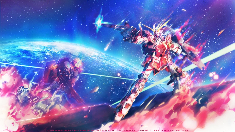 blue earth fire gun mecha mobile_suit_gundam mobile_suit_gundam_unicorn pink planet robot rx-0_unicorn_gundam space stars weapon