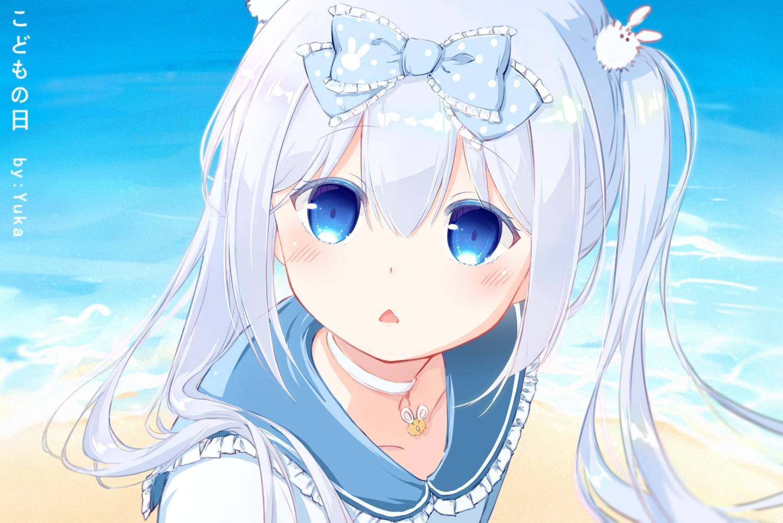 blue_eyes blue_hair blush bow choker close fang loli long_hair parody sailor_moon tagme_(character) twintails water watermark yuka_(x201815071)