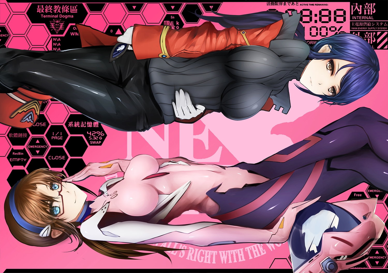 2girls bba_biao bodysuit glasses katsuragi_misato makinami_mari_illustrious neon_genesis_evangelion