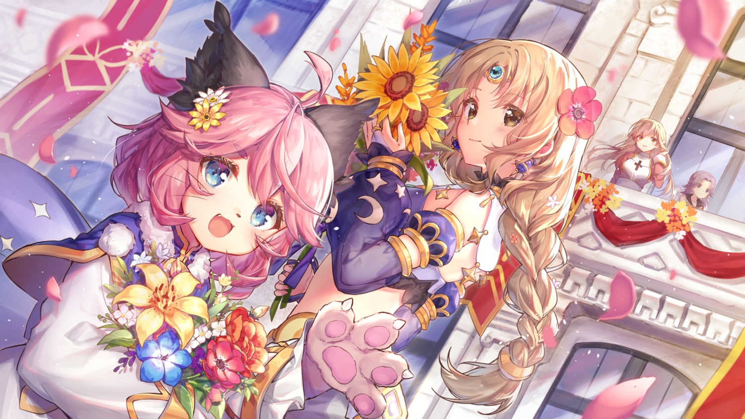 animal_ears braids building cat_smile fang flowers jiang-ge loli long_hair pink_hair ponytail ragnarok_online tagme_(character)