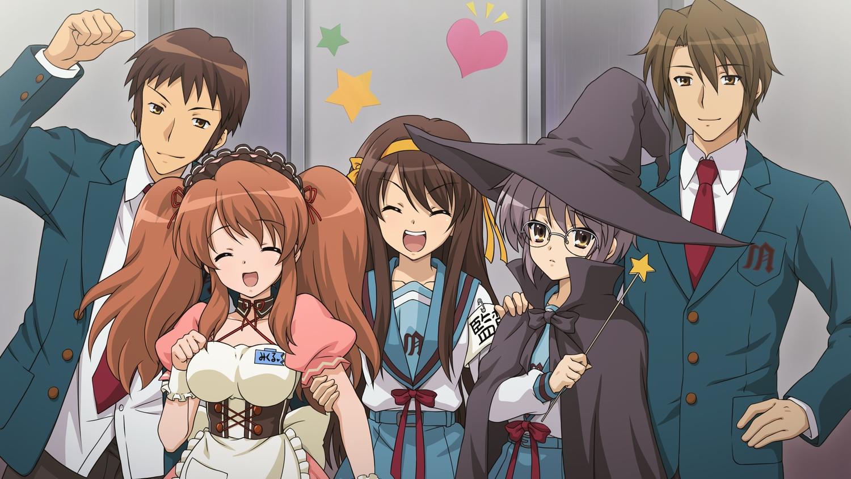 asahina_mikuru cosplay game_cg group hat headband koizumi_itsuki kyon maid male nagato_yuki school_uniform suzumiya_haruhi suzumiya_haruhi_no_tsuisou suzumiya_haruhi_no_yuutsu twintails