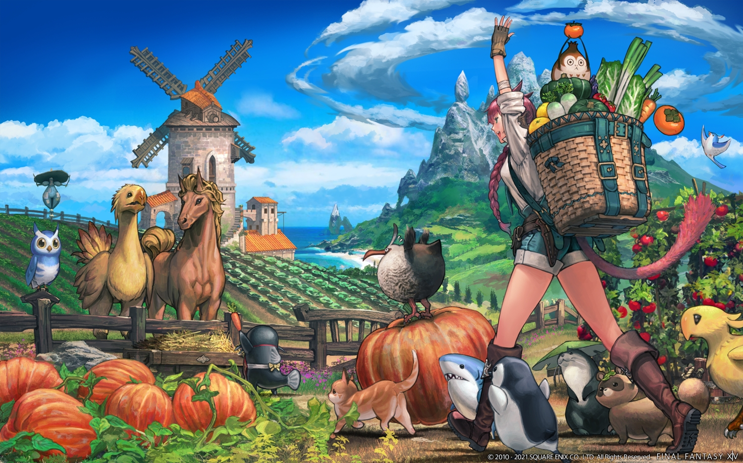 animal animal_ears bird braids cat catgirl chocobo final_fantasy final_fantasy_xiv gloves green_eyes horse miqo'te owl pumpkin red_hair shirt shorts square_enix tail watermark windmill