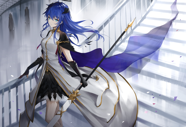 arknights dress horns meng_ziya mostima_(arknights) weapon