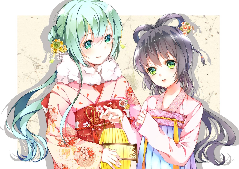 2girls aqua_eyes aqua_hair chinese_clothes flowers gray_hair green_eyes hatsune_miku japanese_clothes kimono long_hair luo_tianyi tr_(52137) vocaloid vocaloid_china white
