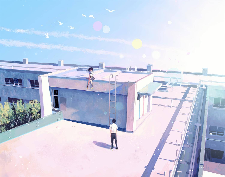 animal bird building clouds hinata_(lipcream) male original rooftop school_uniform sky tree