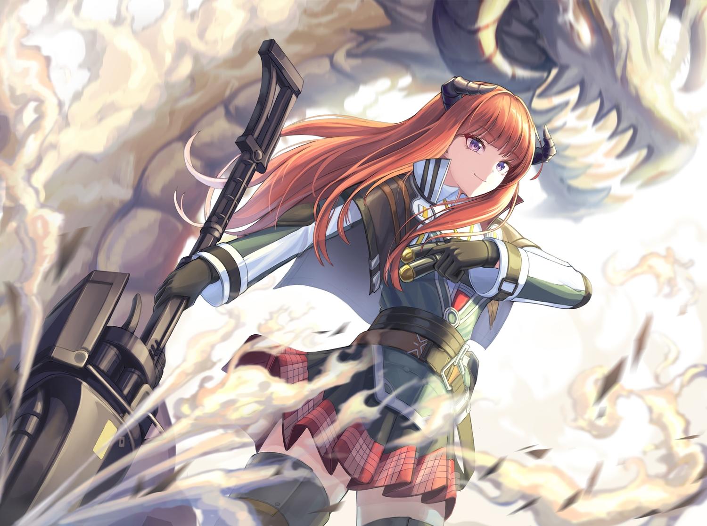 arknights bagpipe_(arknights) cow-ring gloves horns long_hair orange_hair purple_eyes thighhighs weapon