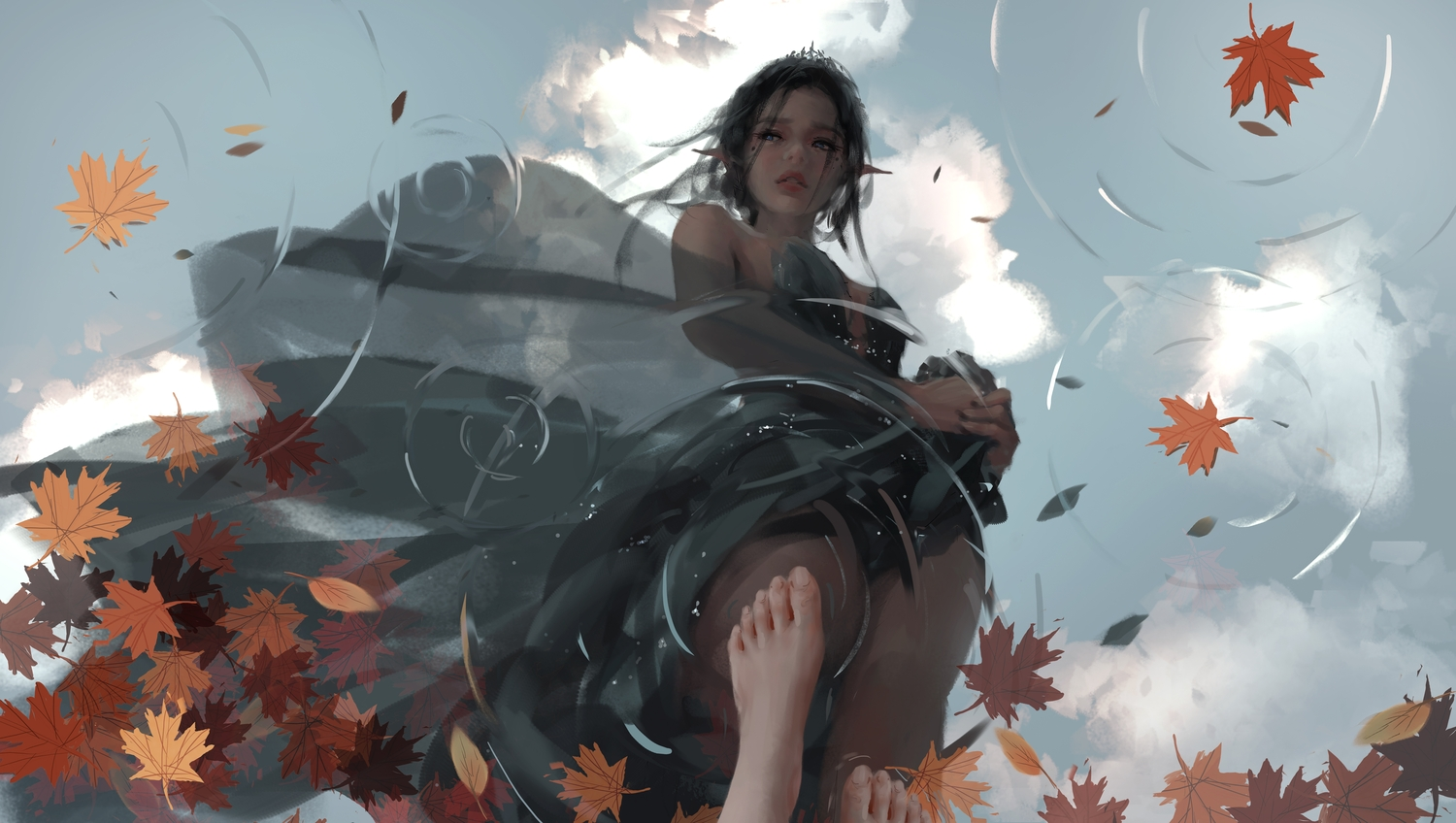 autumn barefoot black_hair clouds dress ghostblade leaves pointed_ears princess_yan realistic reflection sky water wlop