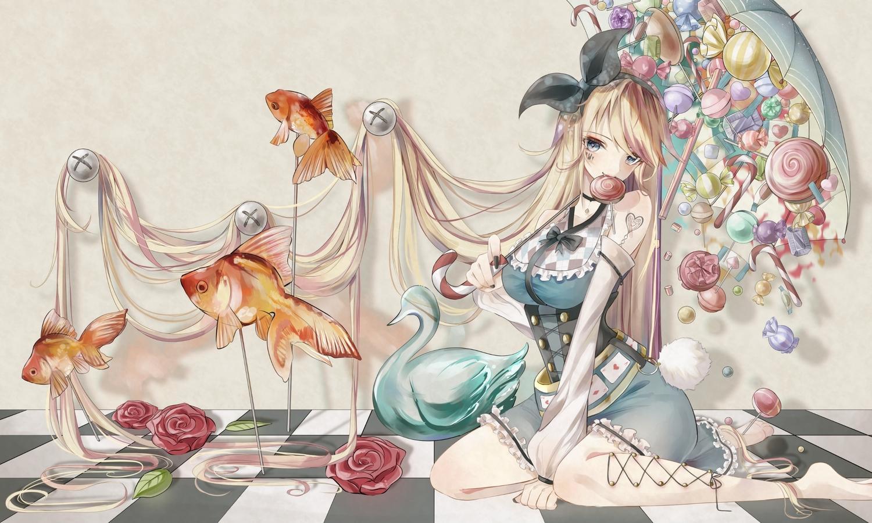 animal blonde_hair candy corset fish flowers headband lollipop long_hair original rose tagme_(artist) tattoo umbrella