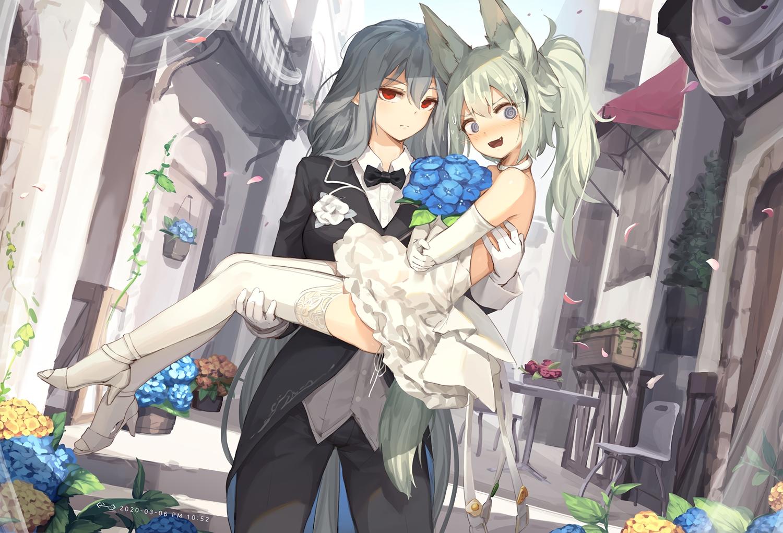 2girls animal_ears arknights blush building elbow_gloves flowers gloves grani_(arknights) gray_eyes gray_hair green_hair jakoujika long_hair red_eyes shoujo_ai skadi_(arknights) wedding wedding_attire