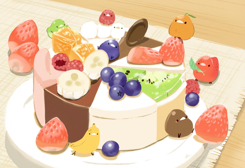 animal bird chai_(artist) chocolate food fruit nobody orange_(fruit) original signed strawberry