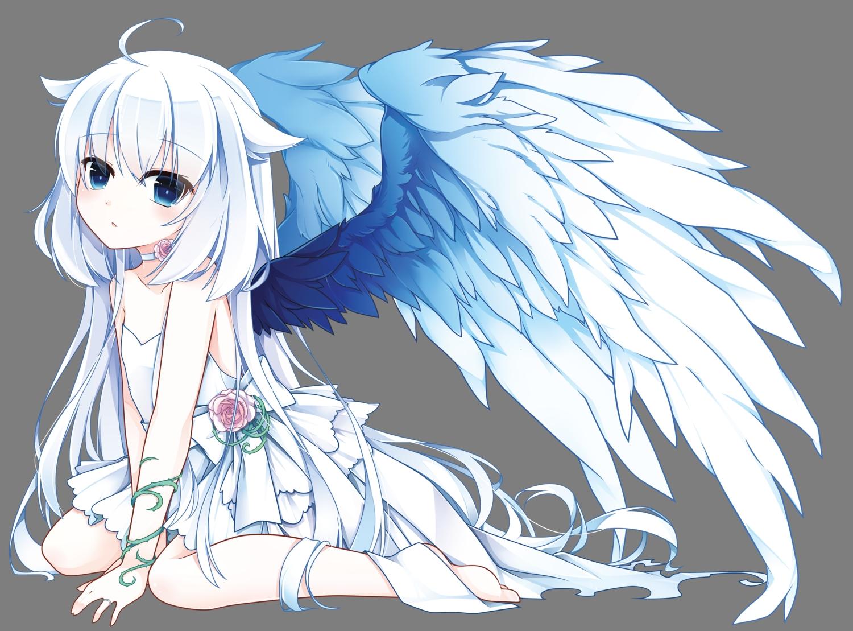 barefoot flowers loli long_hair original transparent vector wedding_attire white wings yuu_(shiroyurine)