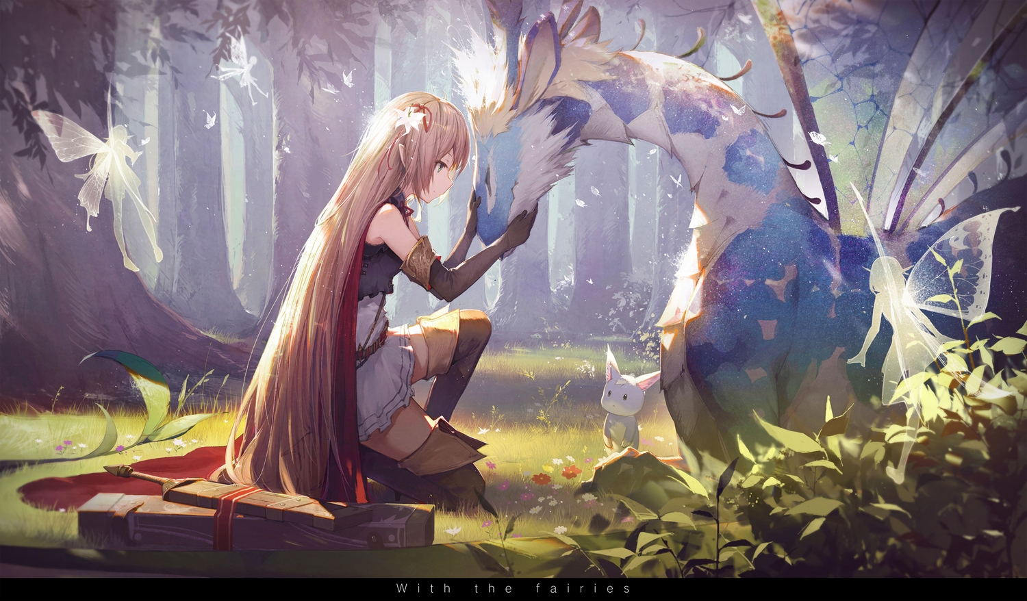 animal arisa_(shadowverse) blonde_hair boots cape dress elbow_gloves fairy gloves green_eyes kieed leaves long_hair pointed_ears shadowverse sword tree weapon wings zettai_ryouiki
