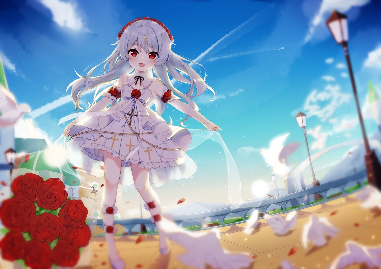 animal bird bow clouds cross fang flowers fufumi headdress honkai_impact loli lolita_fashion long_hair petals red_eyes rose sky theresa_apocalypse white_hair