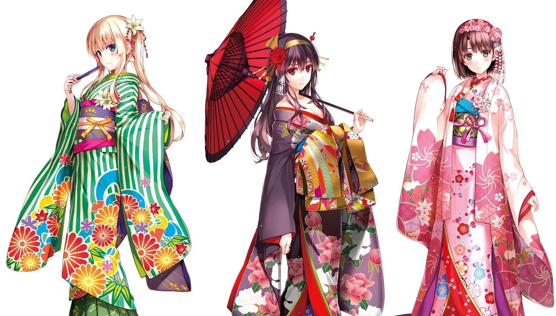 breasts cleavage japanese_clothes kasumigaoka_utaha katou_megumi kimono misaki_kurehito open_shirt saenai_heroine_no_sodatekata sawamura_spencer_eriri umbrella white