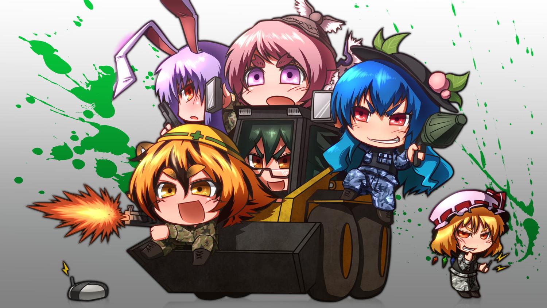 battlefield_3 bunnygirl chibi flandre_scarlet group gun hinanawi_tenshi jpeg_artifacts mystia_lorelei reisen_udongein_inaba reiuji_utsuho toramaru_shou tora_(trampjing) touhou vampire weapon