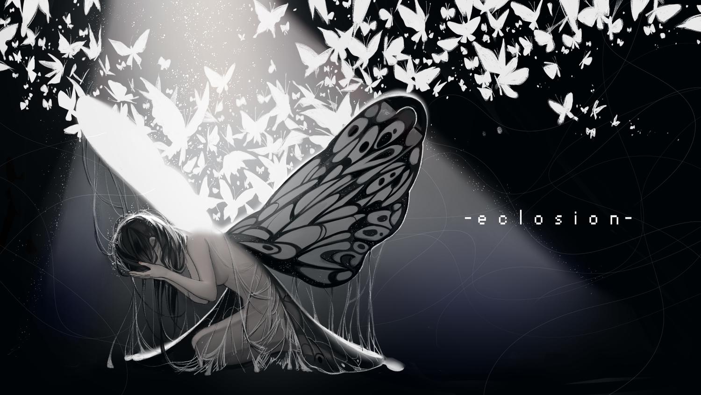 black_hair breasts butterfly longyu monochrome nude original wings