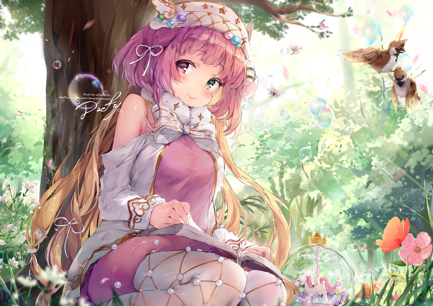 animal bicolored_eyes bird blush book bow bubbles daefny flowers grass long_hair purple_hair signed tree watermark