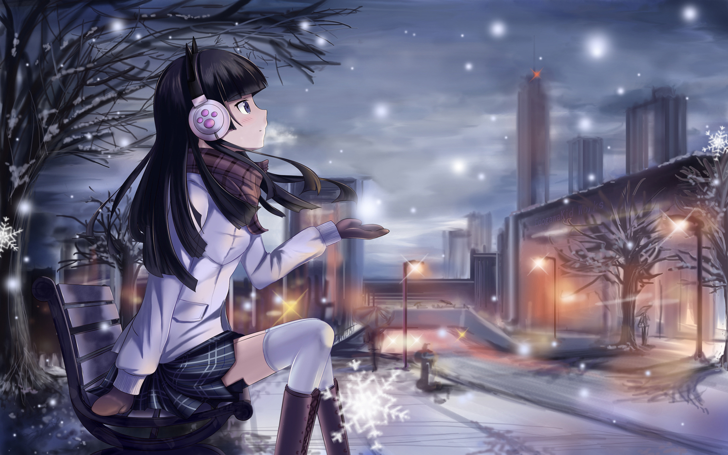 animal_ears black_hair blue_eyes blush boots city edogawakid gloves gokou_ruri headphones long_hair ore_no_imouto_ga_konna_ni_kawaii_wake_ga_nai scarf skirt snow thighhighs tree umbrella winter