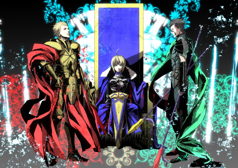 armor artoria_pendragon_(all) blonde_hair cape diarmuid_ua_duibhne_(fate) fate_(series) fate/stay_night fate/zero gilgamesh saber short_hair spear s_tanly sword weapon