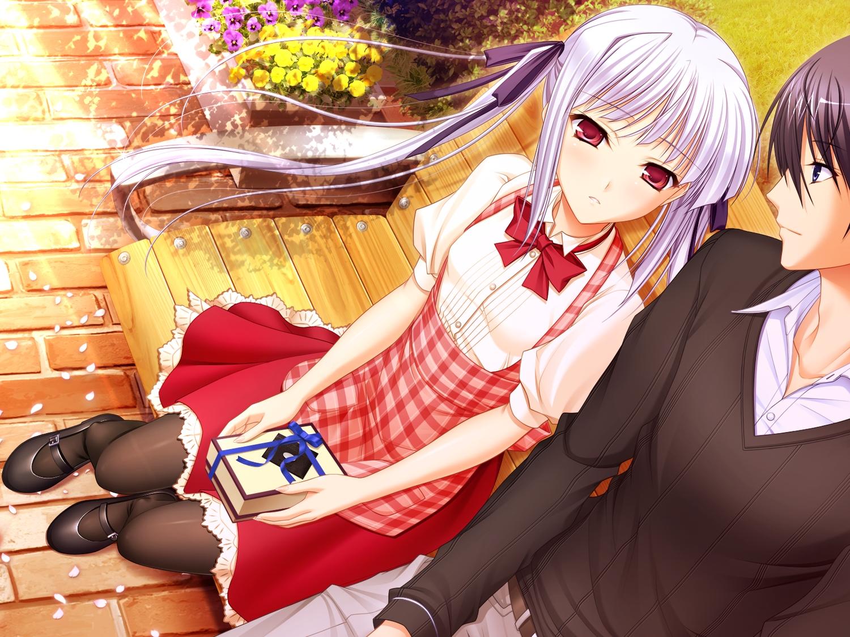 flowers game_cg gray_hair komori_kei lisa_eostre long_hair male mizuno_takahiro pantyhose park petals red_eyes ricotta twintails walkure_romanze
