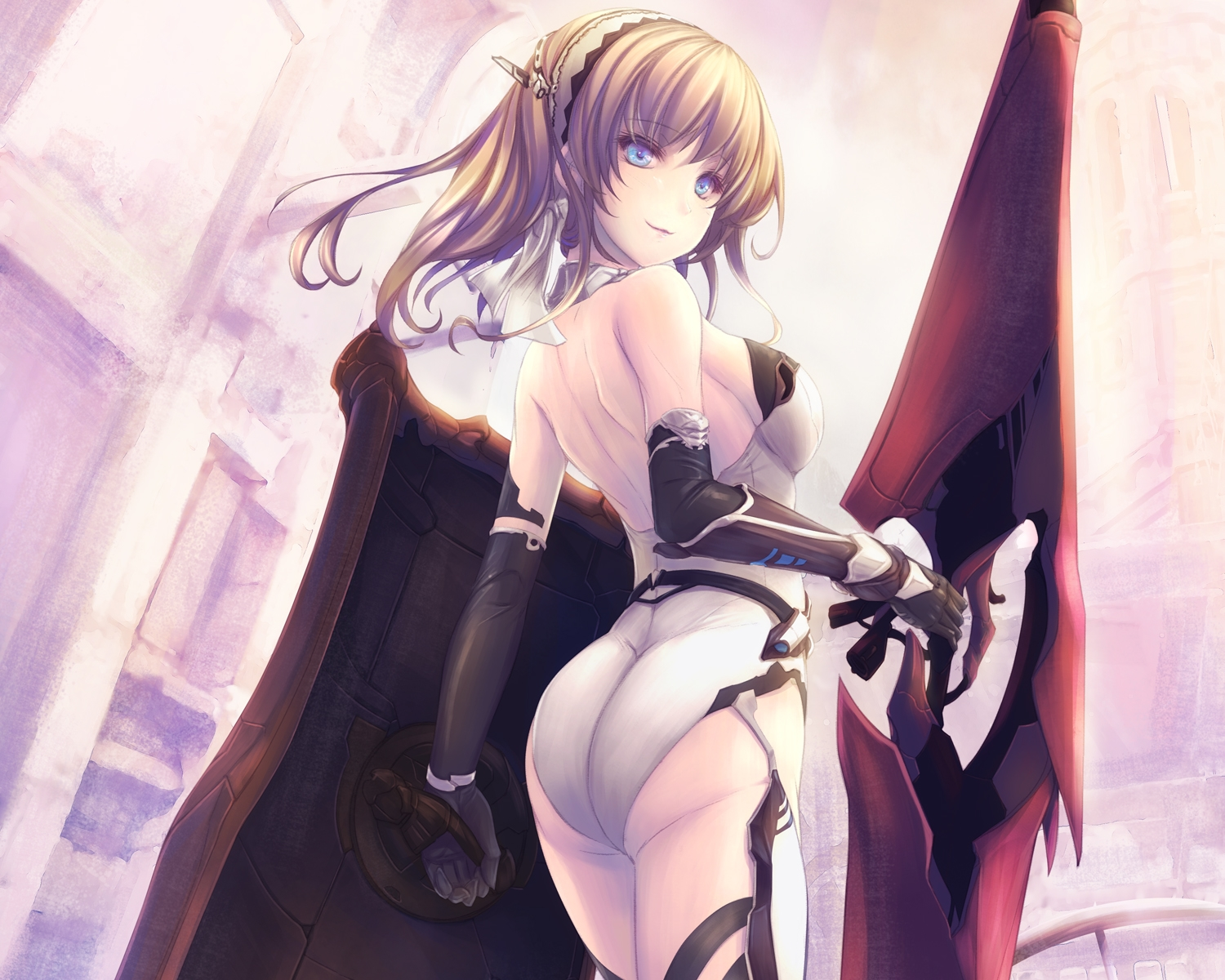 aqua_eyes ass blonde_hair breasts cropped elbow_gloves gloves headdress long_hair original tenmaso weapon
