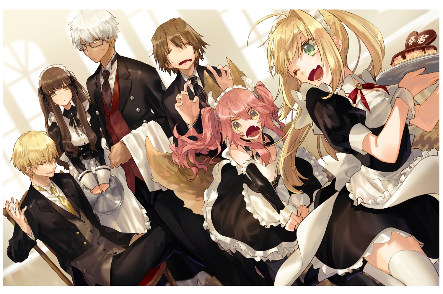 animal_ears blonde_hair bow brown_hair cake dress fang fate/extra fate/extra_ccc fate_(series) food gilgamesh glasses green_eyes hino_hinako long_hair maid male nero_claudius_(fate) pink_hair short_hair suit tagme_(character) tail tamamo_no_mae_(fate) twintails white_hair yellow_eyes