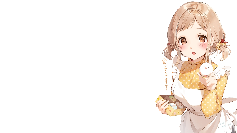 apron blush brown_hair food idolmaster idolmaster_shiny_colors orange_eyes sakuragi_mano shiratama_akane short_hair signed twintails white