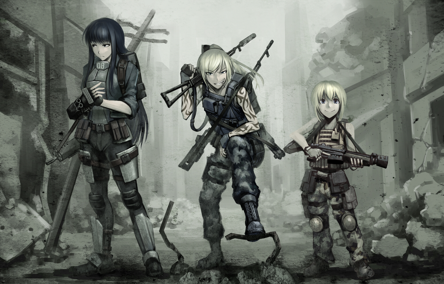 armor black_eyes blonde_hair blue_eyes boots fallout gloves gun hellshock long_hair ponytail ruins short_hair suzumi_(hellshock) tattoo weapon