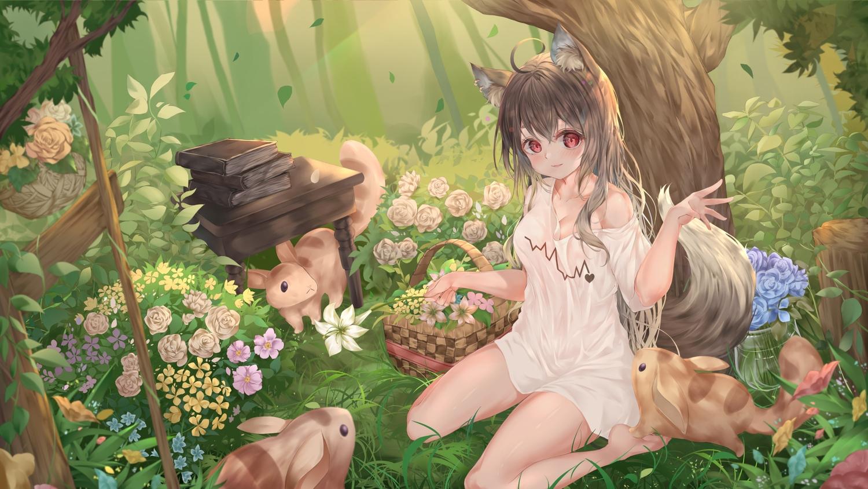aliasing animal animal_ears blush book brown_hair dasima flowers forest grass long_hair original red_eyes tail tree wolfgirl