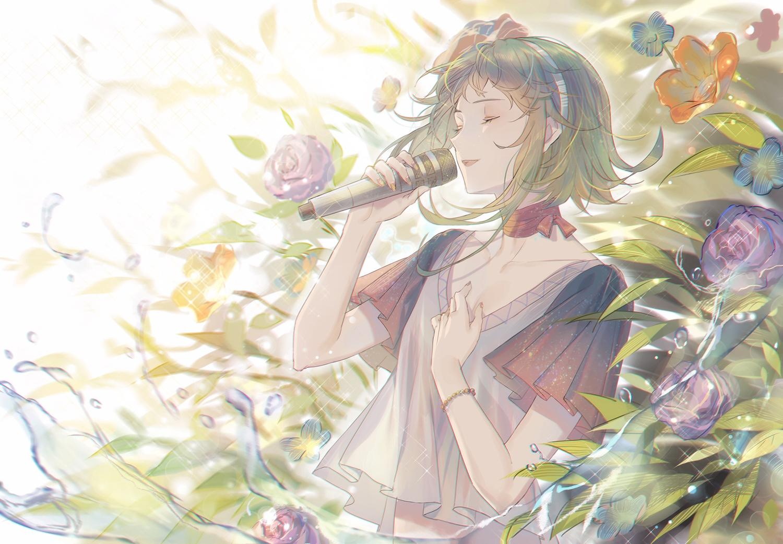 flowers green_hair gumi headband microphone qingshui_ai rose short_hair vocaloid water wristwear