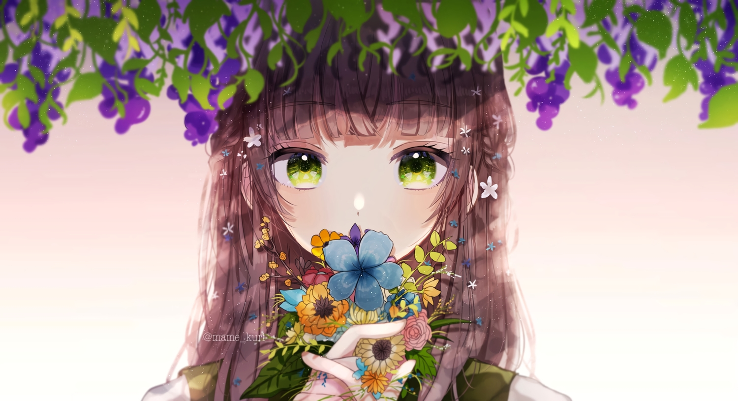 brown_hair close flowers gradient green_eyes long_hair mame_kuri original watermark