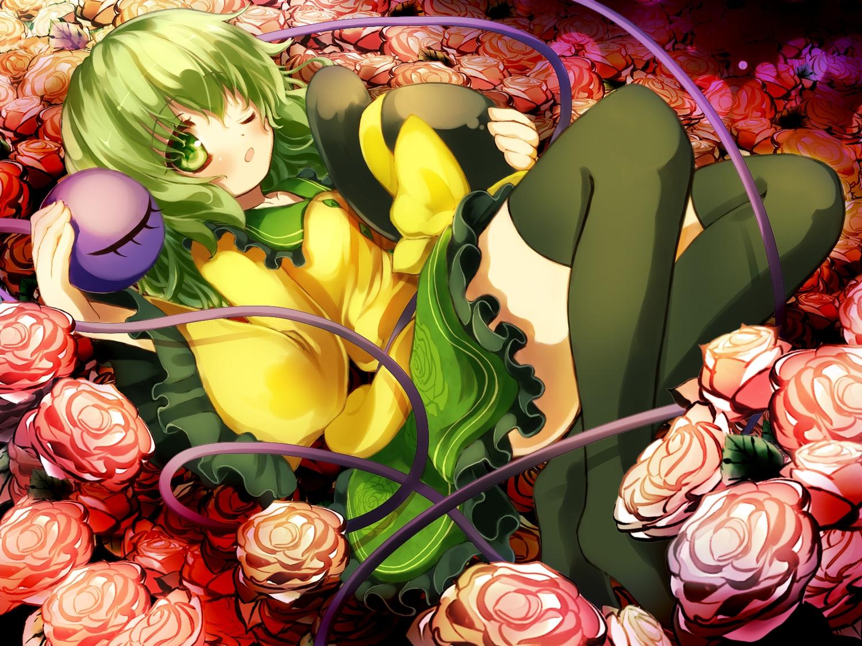 flowers gengetsu_chihiro green_eyes green_hair hat komeiji_koishi ribbons rose short_hair thighhighs touhou wink
