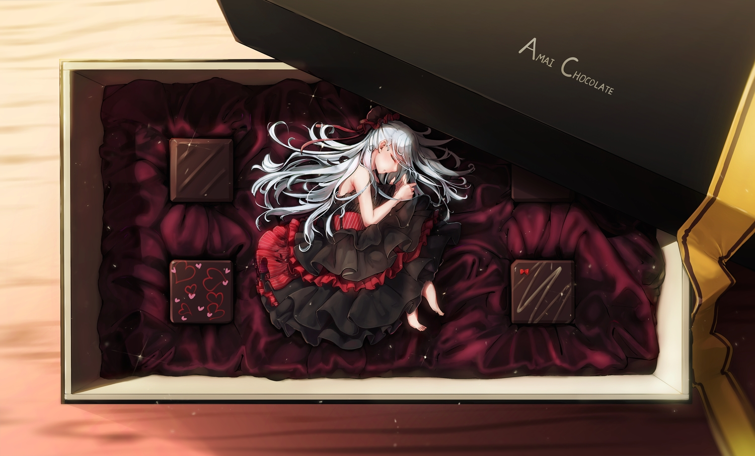 amamami_prime barefoot candy chocolate dress gothic gray_hair long_hair original valentine