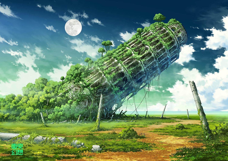 building clouds grass jpeg_artifacts moon nobody original ruins scenic sky tokyogenso tree watermark