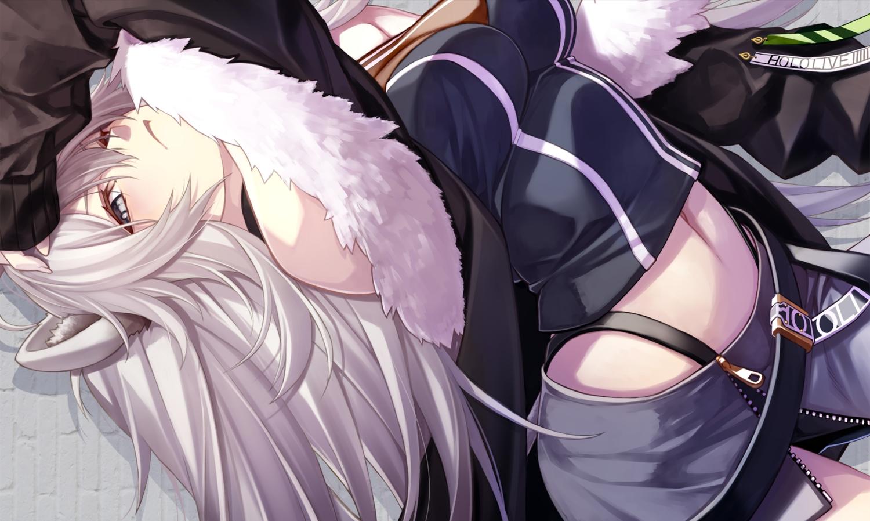 animal_ears catgirl fenrir_(fenlil0316) gray_hair hololive long_hair navel shishiro_botan skirt