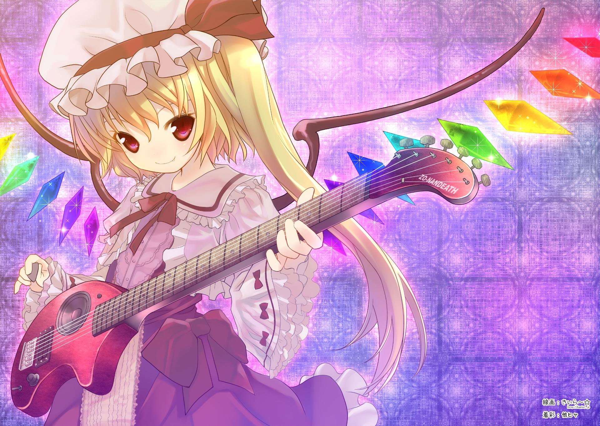 blonde_hair dress fang flandre_scarlet guitar hat instrument long_hair red_eyes ribbons tahya touhou vampire wings