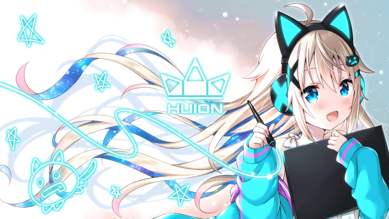 animal_ears aqua_eyes blonde_hair blush headphones huion long_hair uchuuneko uchuu_neko_(vtuber)
