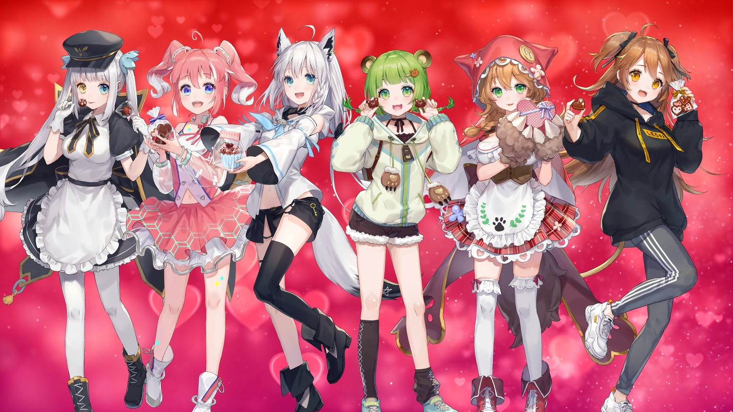 animal_ears apron bicolored_eyes blue_eyes boots brown_hair candy cape cat_smile chocolate choker fang gloves gradient green_eyes green_hair hat hinokuma_ran hololive hoodie kagura_mea kagura_mea_channel long_hair navel nijisanji orange_eyes pantyhose pink_hair school_uniform shirakami_fubuki shorts skirt tagme_(character) tail twintails warabeda_meijii wolfgirl ymymssy zettai_ryouiki