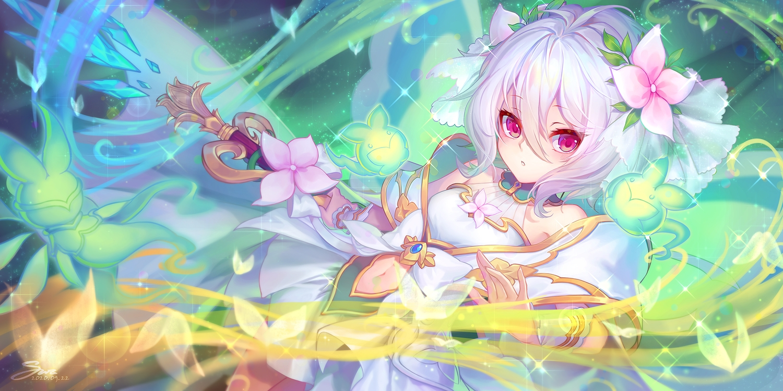 blush dress kanmai_x_sou kokkoro magic navel pink_eyes princess_connect! short_hair signed staff white_hair