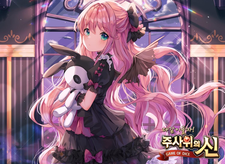 albinoraccoon blush bow bunny cropped dress game_of_dice goth-loli green_eyes logo lolita_fashion long_hair night pink_hair wings
